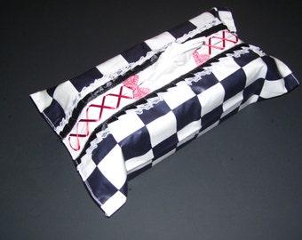 CORSET TISSUE BOX covers - checkered tissue box covers - checkered kleenex box - checkered home decor - checkered covers - checkered decor