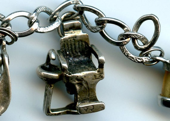FREE SHIPPING-Vintage-Sterling-Silver-Dentist Chair With Sink-Charm-Movable Reclining Chair-