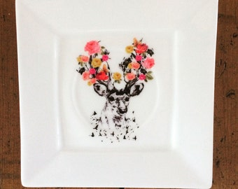 Stag Art on a Porcelain Plate - Altered Art