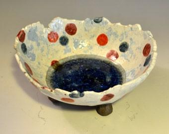 polka dots and marbles- ceramic bowl
