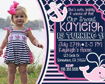 Girl's Whale Nautical Birthday Invitation with Picture