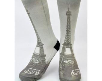 Eiffel Tower Socks - Hand Printed in USA