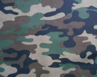 Army Green Camo cotton fabric by the yard