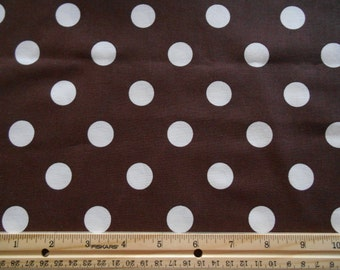Brown with White Dots cotton fabric by the yard