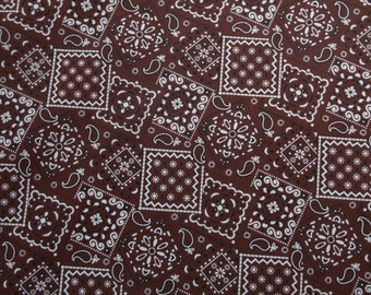 Brown Chocolate Bandana cotton fabric by the yard