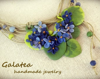 Wild Violets necklace, Spring jewelry, Blue Flowers Statement necklace, floral blue necklace, blue violets necklace, wildflowers necklace