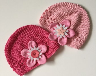 Pink Flower Caps by AStitchyWoman!