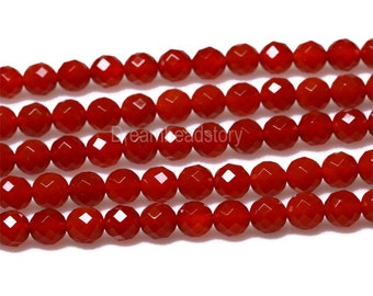 Faceted Carnelian Beads, Faceted Gemstone Beads, 64 Facets Red Carnelian Stone Beads Strand, 6 8 10 12mm Round Red Faceted Beads (Y9)