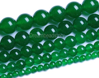 Green Chalcedony Beads, Natural Chalcedony Beads Green, Round Green Chalcedony Strand, 4 6 8 10 12 14mm Dark Green Beads for Jewelry (B33)