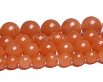 Red Aventurine Beads, Smooth Round Natural Red Aventurine Bead, 6mm 8mm 10mm Aventurine Beads Red, Orange Aventurine Gemstone Beads Supplies