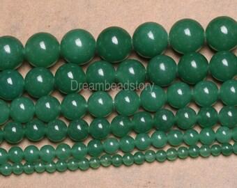 Aventurine Beads, Round Aventurine Beads, 4 6 8 10 12 14mm Dark Green Aventurine Beads Strands, Green Stone Beads Wholesale (B96)