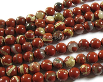 Natural Red Jasper 6 8 10 12mm Red Creek Jasper Gemstone Beads Supplies (B196)