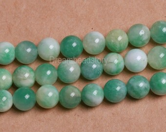 Beaded Beads, Beads for Beaded Jewelry Making, Apple Green Chalcedony Beads, 6mm 8mm Green & White Smei Precious Stone Beads