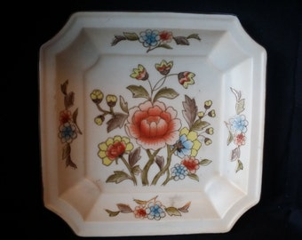 Vintage Andrea by Sadek Hand-Painted Square Floral Plate