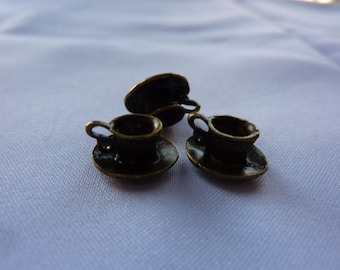 11mm Tiny Antique Bronze Teacup Charms (set of 3)