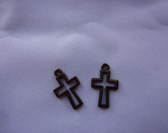 17mm Antique Bronze Cross Outline Charms (set of 2)