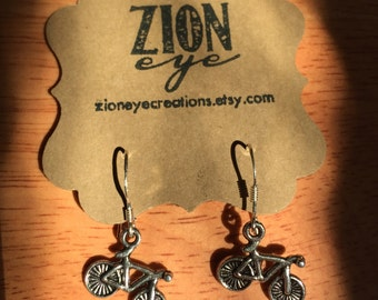 Silver Bicycle Earrings - Sterling Silver Earwires