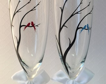 Set of Personalized Champagne Glasses, Love Birds, Bride and Groom, Wedding, Anniversary, SALE