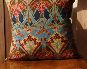 "Vintage Liberty Of London Ianthe Art Nouveau Revival Fabric Cushion Cover 16"" Reds"