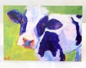Here's Looking at Moo Art Print Card, cow art, cow note card, greeting card,  birthday card, farm, calf