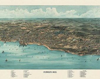 Bird's Eye View of Plymouth 1910