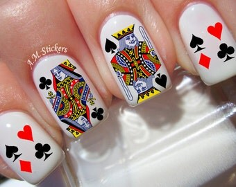 60 Playing Cards Nail Decals