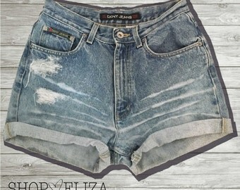 VINTAGE DKNY distressed high waisted shorts