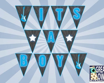 Rock a Bye Banner, Rock Star Baby Shower Banner, It's a Boy Digital Party Banner
