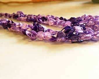Crochet Ladder Ribbon Necklace in Purple Amethyst Multicolored Multistrand