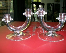 Vintage Fostoria Candlesticks, Pair, Clear Glass,  Modernist, Candle Holders, Mid Century, Modern, Excellent, Free Shipping