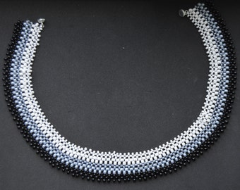 Black, Gray, and White Right Angle Weave Necklace
