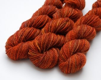 Fall Though Far Away Hand Dyed Jacob Mini-Skeins - Sport weight (3 skeins, 250 yards total)