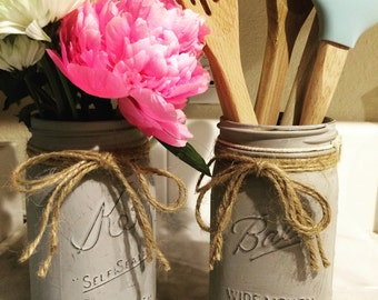 Large Painted Mason Jar for flowers, pens, utensils, cooking  spoons, candles. Gray.