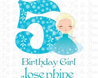 Custom Frozen Princess Elsa Girls Birthday Shirt Iron On Transfer Personalized FREE