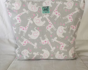 Large Wet Bag - Baby Animal Print - Pink and Grey