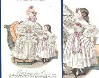 Romantic/ regency era antique 1832 fashion print girl's dress Modes de Paris