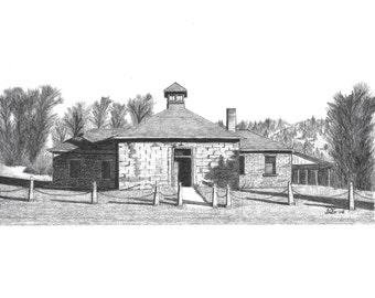 Pencil Drawing, Church, School, Mormon Church, LDS Church