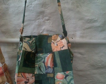 Handmade Patchwork Handbag in Green and Peach