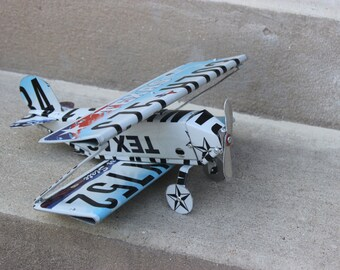 Texas License Plate Biplane Airplane