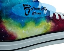 Galaxy Converse Nebula converse, Hand Painted Shoes, Custom Art Galaxy Shoes, Custom Converse, Birthday Gifts, Free US Shipping, V2