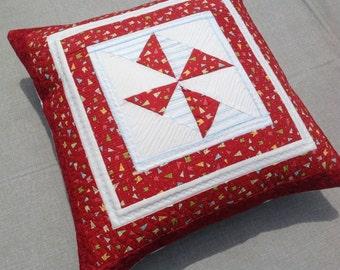 Quilted pillow - red pinwheel pillow - decorative pillow - quilted pillow cover - kids pillow - patchwork pillow