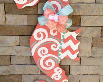 Hand Painted Sea Horse Door Hanger