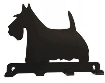 Scottish Terrier (Scottie) Silhouette Key Hook Rack - metal wall art