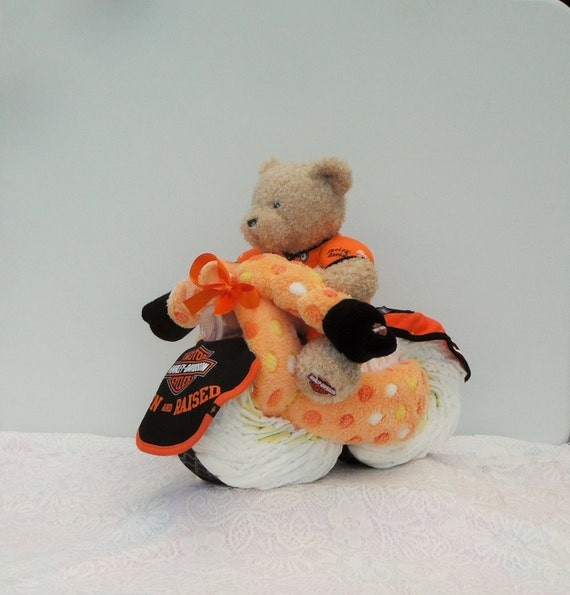 Harley Davidson Diaper Cake Motorcycle with Receiving Blankets & more
