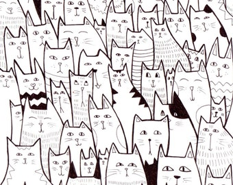 A5 'All the Cats' Illustration Print