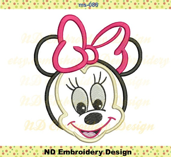 Baby minnie mouse embroidery applique machine