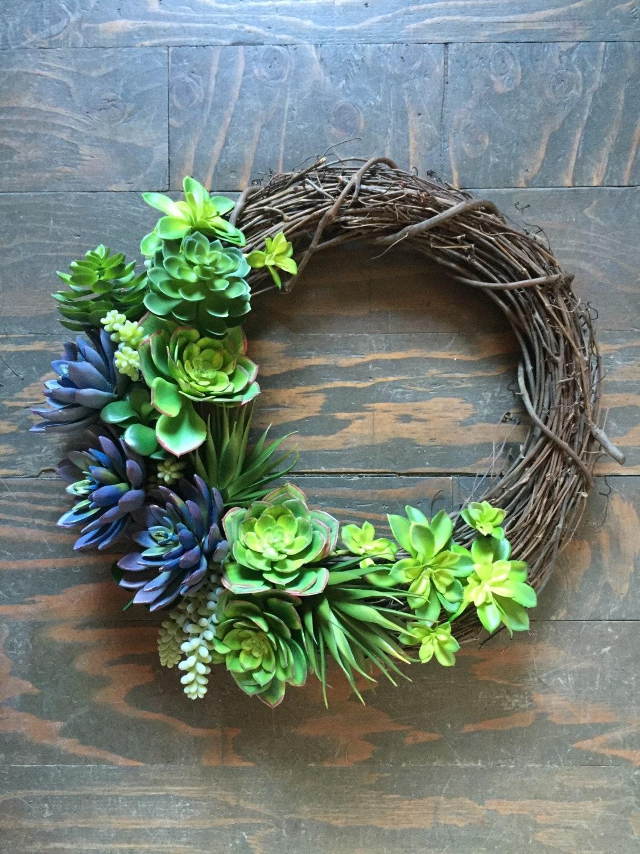 Spring Wreath Faux Succulent Wreath Grapevine Wreath