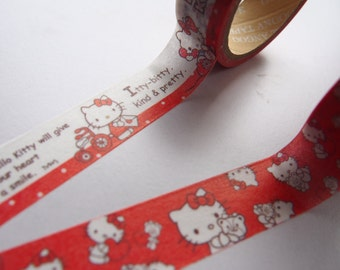 Set of 2 Cute Adorable Hello Kitty Japanese Washi Tape for Scrapbooking, Planning and Journalling!