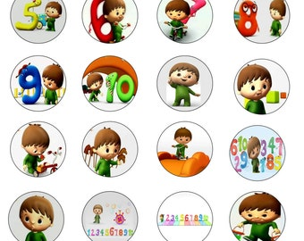 24x edible wafer / rice paper cupcake / fairycake cake toppers, birthday, Charlie and the numbers, BabyTV