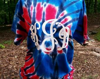 Red White & Blue Tye Dye Monogram Gildan Tshirt